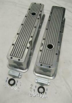 1958-1986 Small Block Chevy Tall Polished Aluminum Retro Finned Valve Covers SBC