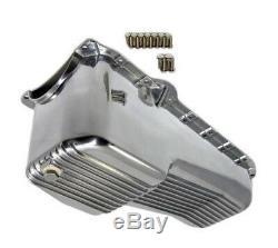 1980-85 Small Block Chevy SBC Retro Finned Polished Aluminum Oil Pan 305 350 5.7