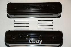 1987-00 Chevy Black Fabricated Aluminum Center Bolt Valve Covers 5.0 5.7 350 SBC