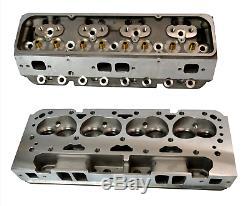 2x ALUMINUM BARE CYLINDER HEADS FOR CHEVY SBC 350 200cc 64cc STRAIGHT SPARK PLUG