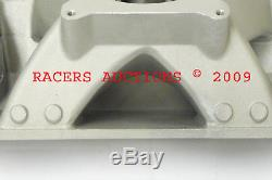 350 383 Small Block Chevy Vortec High Rise Aluminum Intake Manifold Satin SBC