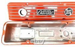 350 Small Block Chevy Chevrolet Orange Classic Finned Valve Covers Ansen USA