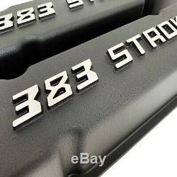 383 STROKER Chevy Valve Covers Black SBC Tall Raised Logo Ansen USA