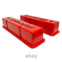 383 STROKER Chevy Valve Covers Red SBC Tall Raised Logo Ansen USA