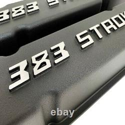 383 STROKER Small Block Chevy Valve Covers & Air Cleaner Kit Black Ansen USA