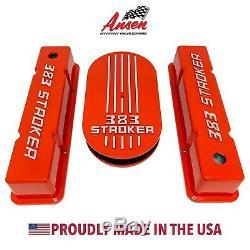 383 STROKER Small Block Chevy Valve Covers & Air Cleaner Kit Orange Ansen USA