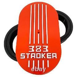 383 STROKER Valve Covers & Air Cleaner Kit ORANGE, Raised Logo Ansen USA