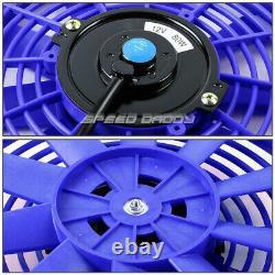 3-ROW ALUMINUM RACING RADIATOR+2 10 BLUE FAN 73-80 CHEVY SMALL BLOCK SBC l6/V8