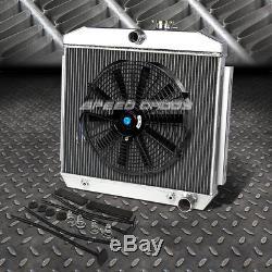 3-row Aluminum Radiator+1x 16fan Kit For 55-57 Chevy Small Block 150/210 Sbc V8