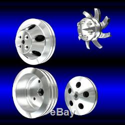 4 Pulley Set Billet small block SB Chevy short water pump 283 327 350 alt ps ac