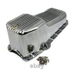 58-79 SBC Chevy Finned Polished Aluminum Oil Pan Small Block 283 305 327 350