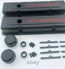 58-95 SBC Valve Cover Kit Chevrolet Steel Covers Black Small Block 327 350 383