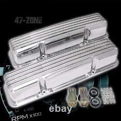 ALUMINUM 58-86 CHEVY SB 283-400 TALL VALVE COVERS FINNED POLISHED (WithO HOLES)
