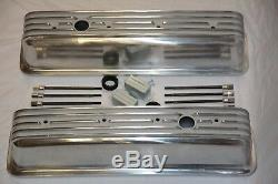 Aluminum Small Block Chevy Tall Finned Center Bolt Valve Covers Vortec TBI 350
