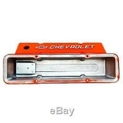 Ansen Small Block Chevy SBC Tall Chevrolet Logo & Bowtie Orange Valve Covers