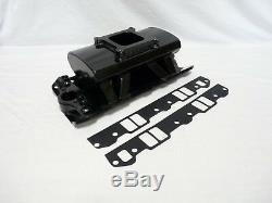 BLACK Fabricated Aluminum Intake Manifold Hi Rise Chevy SBC 327 350 383 400