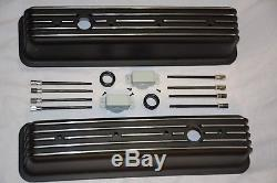 BLACK Small Block Chevy Tall Finned Center Bolt Valve Covers + Air Cleaner 350
