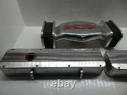 B&m Aluminum Valve Covers And Air Cleaner Set Sbc Small Block Chevy Rare Vintage