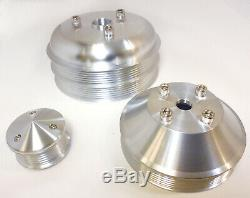 Billet Aluminum SBC Small Block Chevy Serpentine Pulley Conversion Kit 3 piece