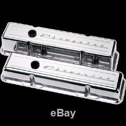 Billet Aluminum small Block Chevy Short Valve Cover chevrolet 350 327 40 script