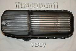 Black 1955-79 Small Block Chevy 265 283 305 350 400 Finned Aluminum Oil Pan SBC