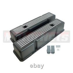 Black Aluminum Small Block Chevy SBC 283 327 350 400 Ball Mill Tall Valve Cover