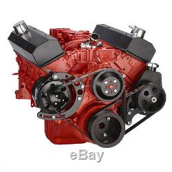 Black Small Block Chevy Serpentine Conversion Kit Power Steering, SBC 350 400