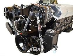 Black Small Block Chevy Serpentine Front Drive System Complete W P/S Reservoir