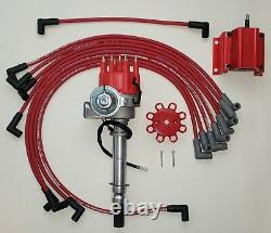 CHEVY SMALL BLOCK SMALL CAP HEI DISTRIBUTOR + 8.5mm WIRES OVER VALVE COVER +Coil