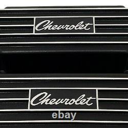 Chevrolet Script Valve Covers for Small Block Chevy Finned Black Ansen USA