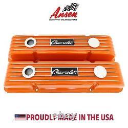 Chevrolet Script Valve Covers for Small Block Chevy Finned Orange Ansen USA
