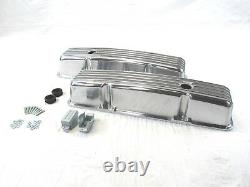 Chevy 327 350 383 Tall Finned Aluminum Valve Covers Polished E41001P
