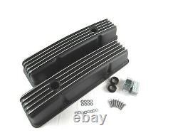 Chevy 327 350 Finned Aluminum Tall Valve Covers Black Powdercoat E41001BK