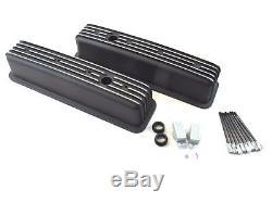 Chevy 350 383 Tall Alum. Finned Center Bolt Vortec Valve Cover Black BPE-2026B