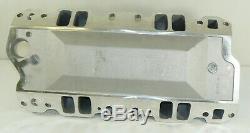 Chevy Small Block Carbureted Satin Aluminum Dual Plane Air Gap Intake Manifold