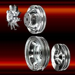 Chrome 4 Pulley Set for Small Block Chevy Long WP 350 383 400 A/C Press On PS