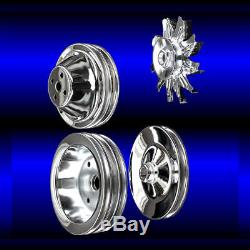 Chrome 4 pulley set for small block Chevy short wp pulleys SBC with ac and ps