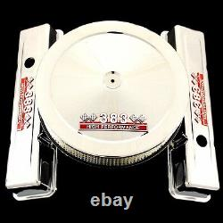 Chrome Short Valve Covers and Air Cleaner Fits 383 Chevy Engines HP Emblems SBC