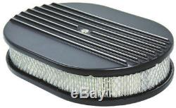 Classic Finned SB Chevy Black Aluminum Short Valve Cover Air Cleaner Kit SBC 350
