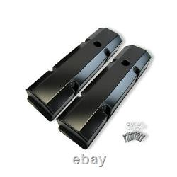 Fabricated Tall Valve Covers & Hole Black Anodized For Small Block Chevy SBC 350