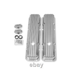For 58-86 SBC 350 383 Short Retro Finned Valve Cover Polished Aluminum with Hole
