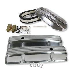 For SBC Chevy 350 400 Finned Polished Aluminum Tall Valve Covers+15 Air Cleaner