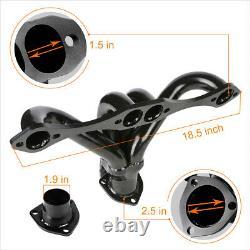 For Small Block Hugger 283/305/327/350/400 Black Steel 4-1 Exhaust Header+Gasket