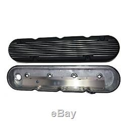 GM LS Chevy SB Finned Cast Aluminum Valve Covers with Coil Mounts & Cover Black