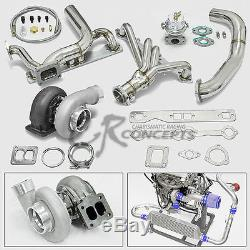 Gt45 5pc Turbo Charger Kit Manifold+oil Feed Line Chevy Small Block Sbc Camaro