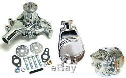 Long Pump Small Block Chevy Chrome Water Pump Alternator Power Steering Pump Kit