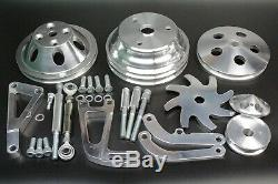 Long Water Pump Pulley Kit Alternator Power Steering Bracket Small Block Chevy