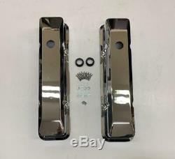 NEW V8 Small Block Chevy Tall Smooth Chromed Aluminum Valve Covers 283 350 305