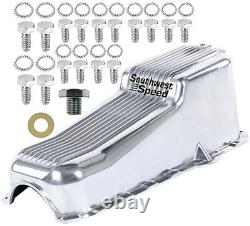 New 86-02 Small Block Chevy Finned Oil Pan, Polished, Right Side Dipstick, 262-350
