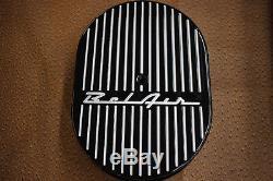 New Black 1956 BelAir Chevy Small Block Stock Billet Aluminum Valve Cover Set
